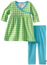 Zutano Baby-Girls Infant Fair And Square Lime Long Sleeve Dress
