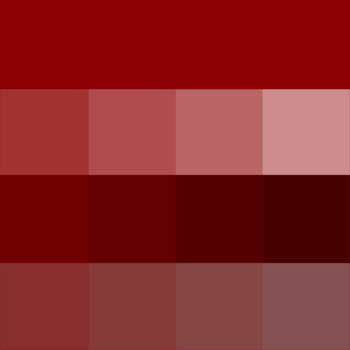Dark Red: Hue (pure). Tints (hue + White). Shades (hue