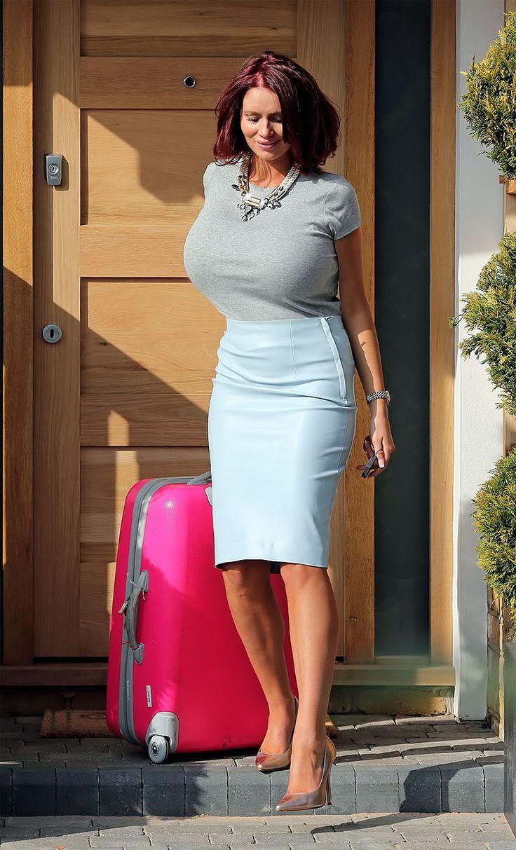 That big boobs see through tight skirt