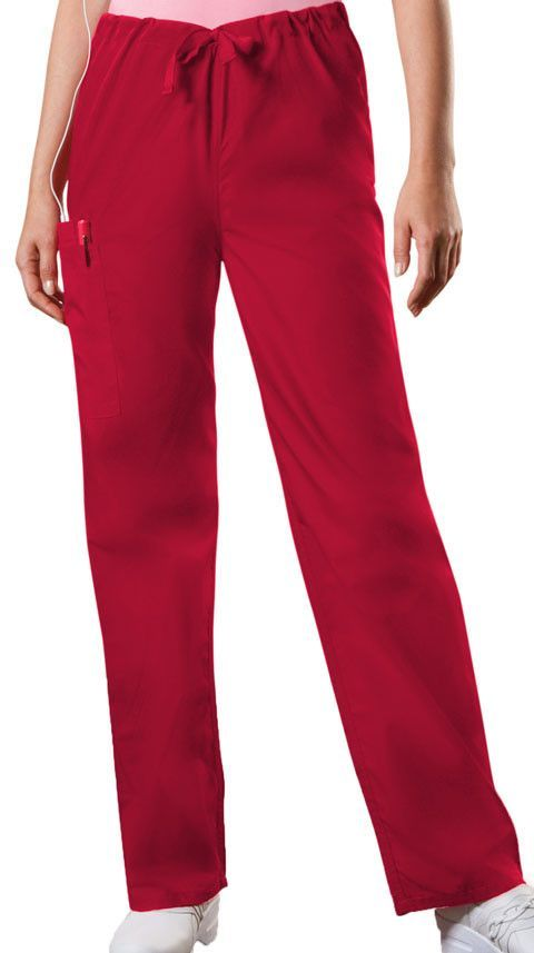 Cherokee Authentic Workwear Unisex Drawstring Cargo Pant in Red
