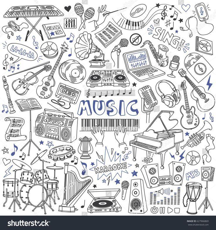 Musikdoodles-Set. Musikinstrumente, Geräte und Symbole. Freehand, Stock-Vektorgrafik (Lizenzfrei) 627966869 #musicalinstruments
