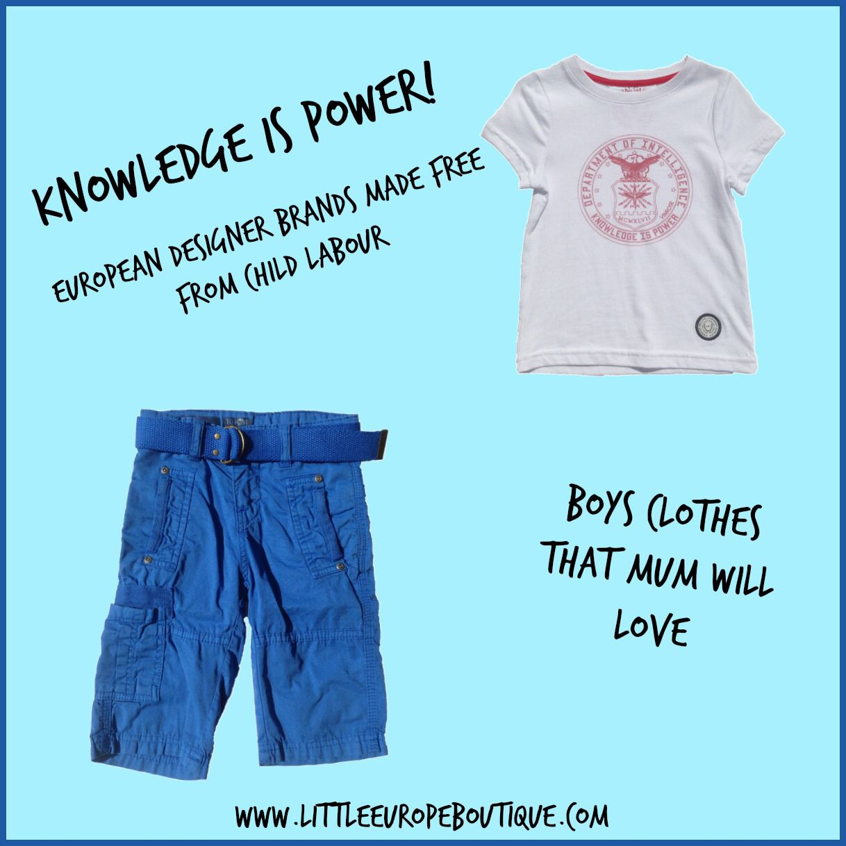 Knowledge is power! Just love this boys outfit by VinRose. European fashion made free from child labour.