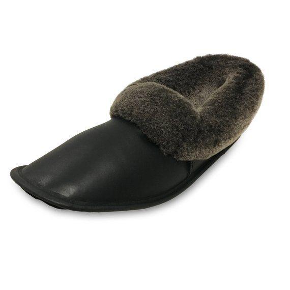 b4f134db8a1 Men s Handmade Genuine Sheepskin Slippers Shearling Lined Size 10 11 - Black