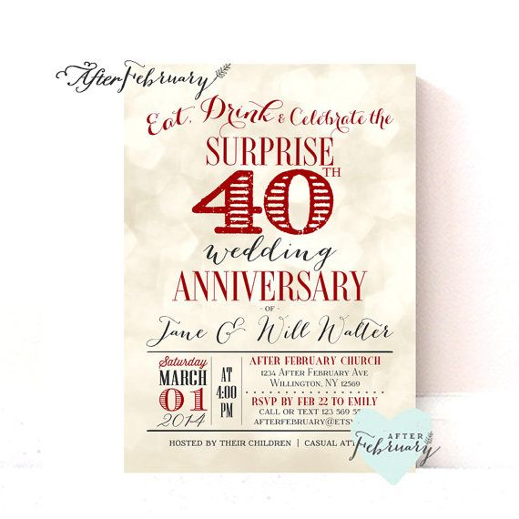 Surprise 40th Anniversary Invitation