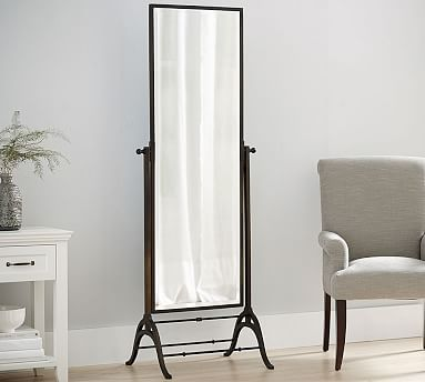 Clark Pivoting Floor Mirror, Polished Nickel | Floor mirror, Bronze ...