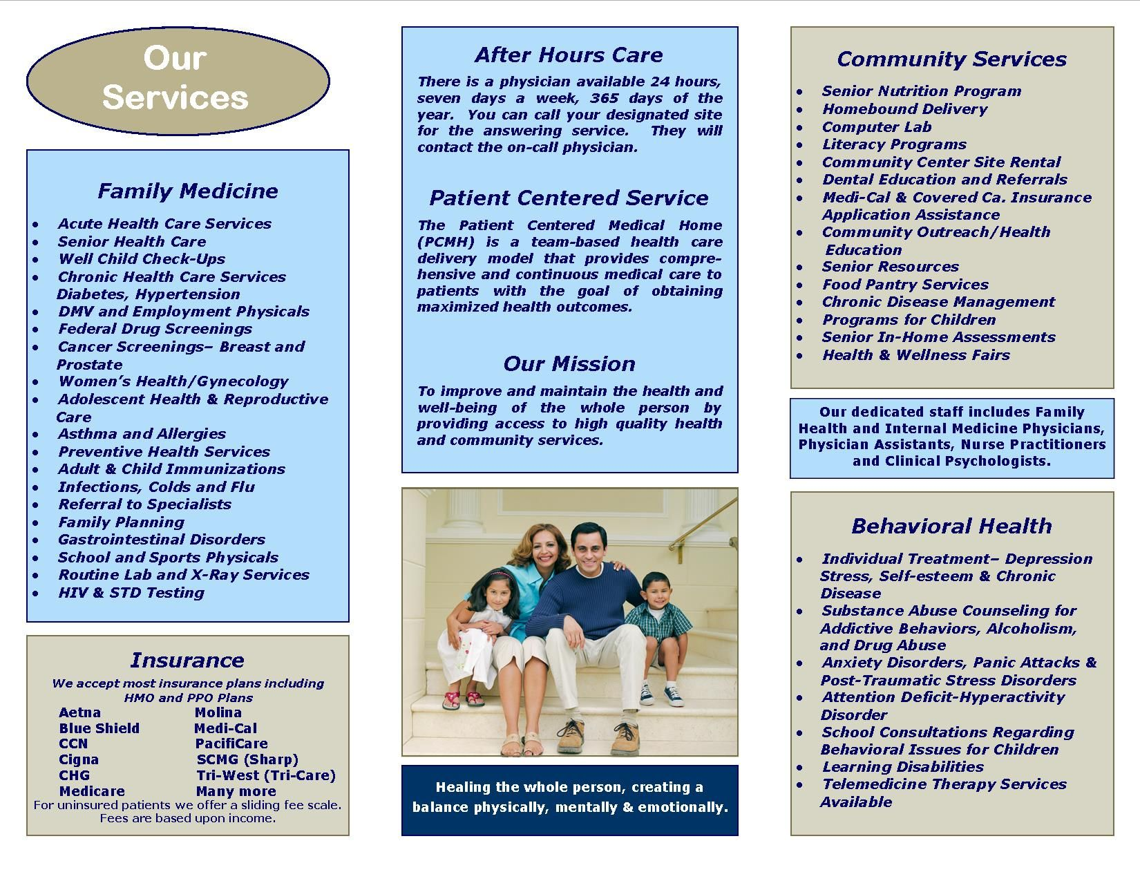 Check out our new brochure health services clinics