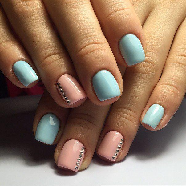 Accurate nails, Beautiful nails 2016, Nails with rhinestones ideas, Nails with stones, Original nails, Pink and blue nails, Shellac nails 2016, Spring nail designs