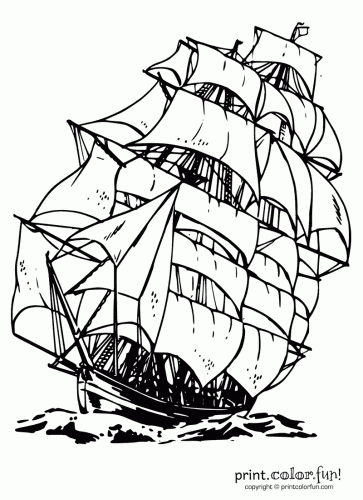 just add water coloring pages for kids | #Clipper #ship #colouring page | Ship drawing, Coloring ...