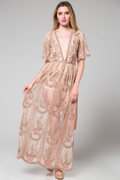 26c8203624df Bardot Lace Maxi Romper - Light Blush