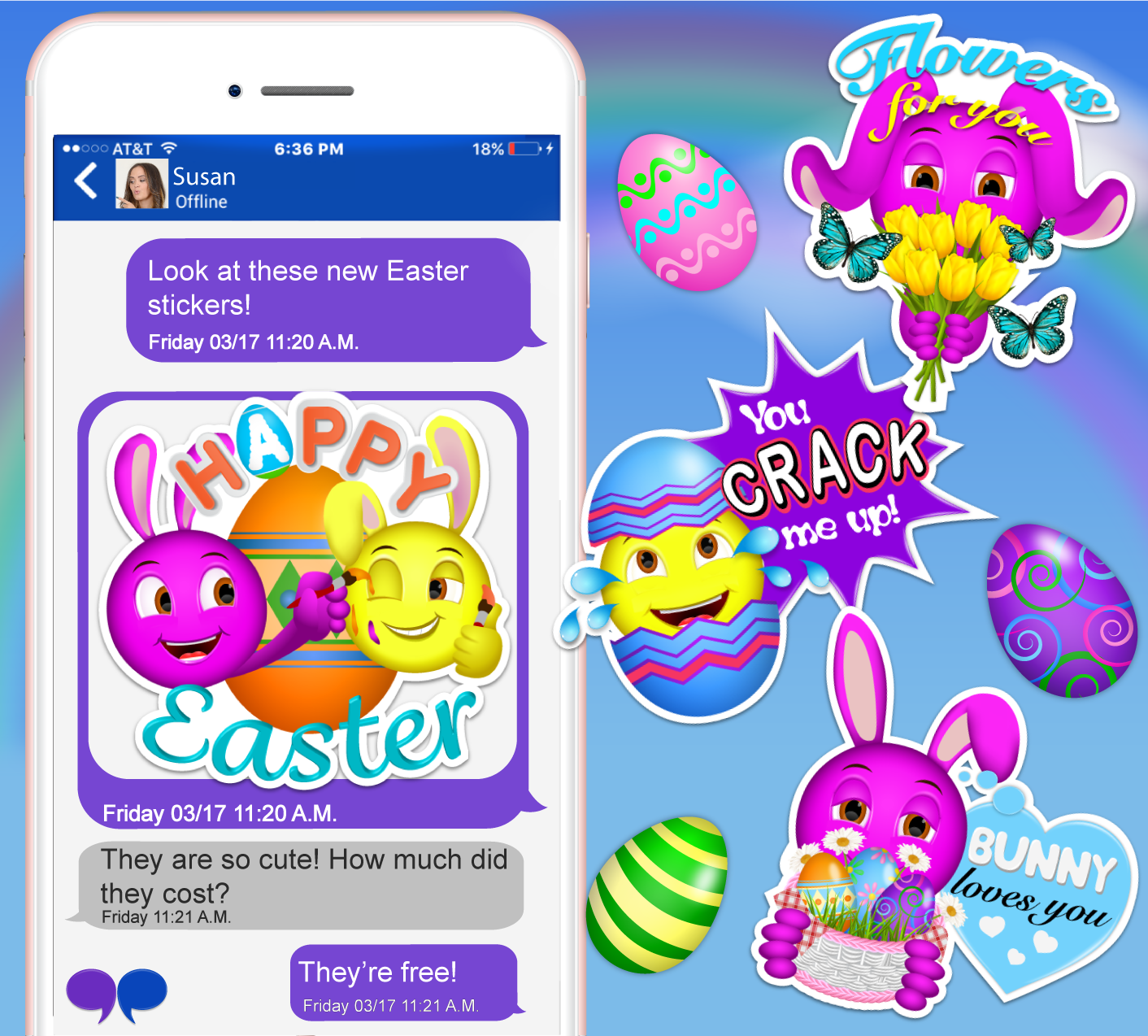 Download the Bubblelingo App and get your Easter stickers now! At Google Play & iTunes!  #Easter #easterstickers #holiday #contentcreator #apps #messaging #Android #iPhone #GooglePlay #iTunes