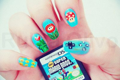 Cute Blue Fantasy Makeup for Date,School,Traveling, - Cartoon Nail Art super Mario bros nail aet