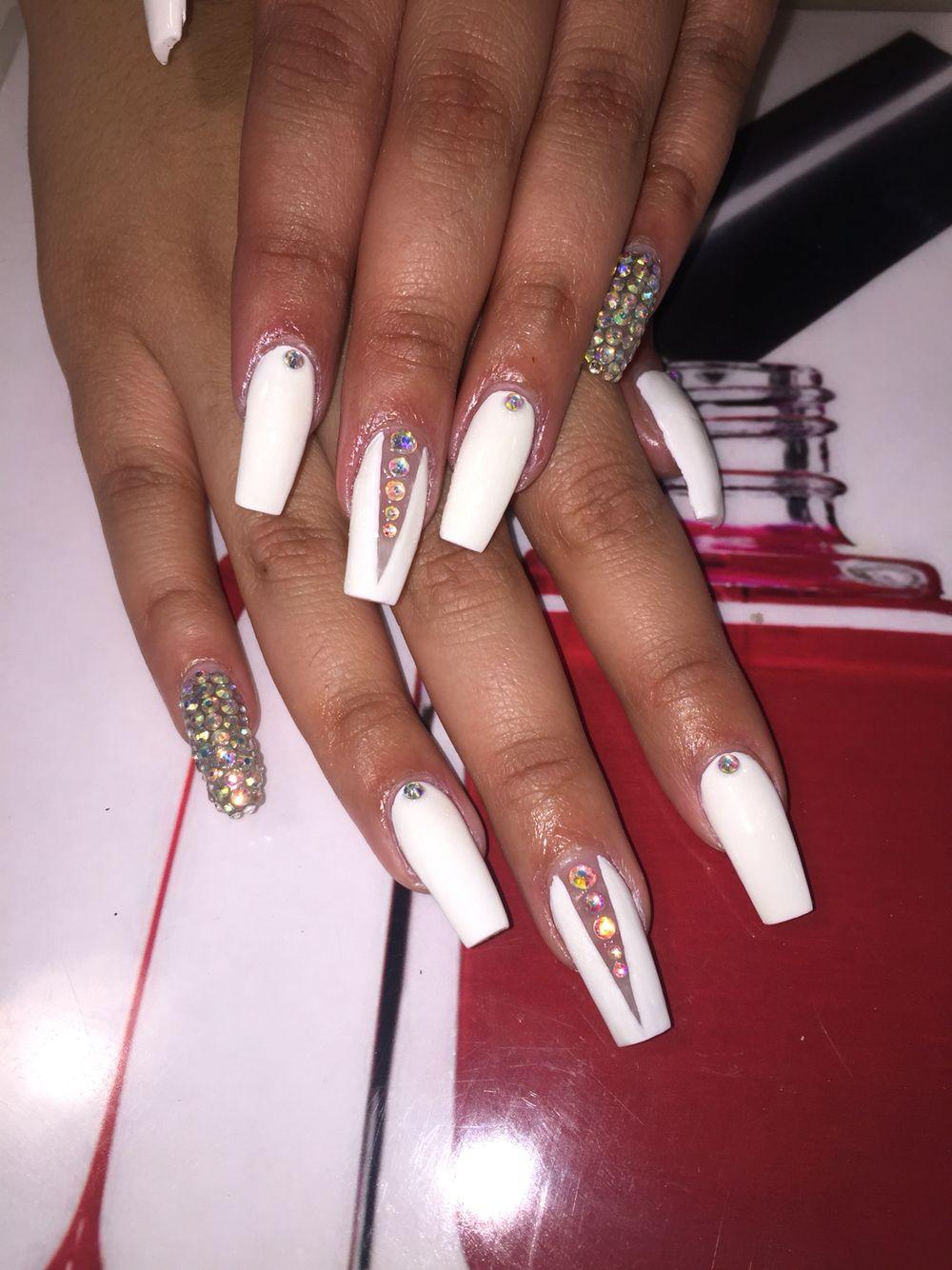 White Coffin Bling Summer Nails