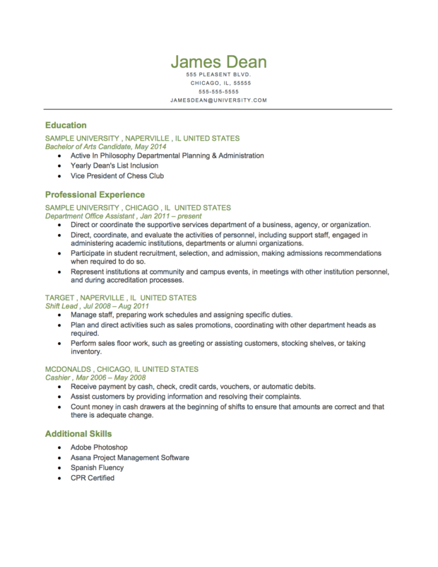 Example Of A Student Level Reverse Chronological Resume