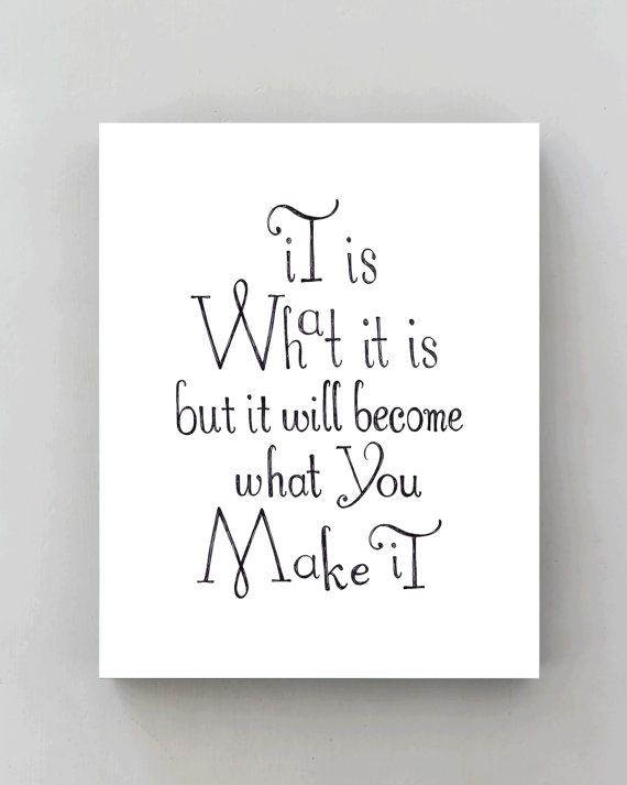 Inspirational Quote Wall Art It Is What It Is Black And White