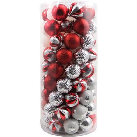 red, white and silver shatterproof christmas ornaments, 101pk; for