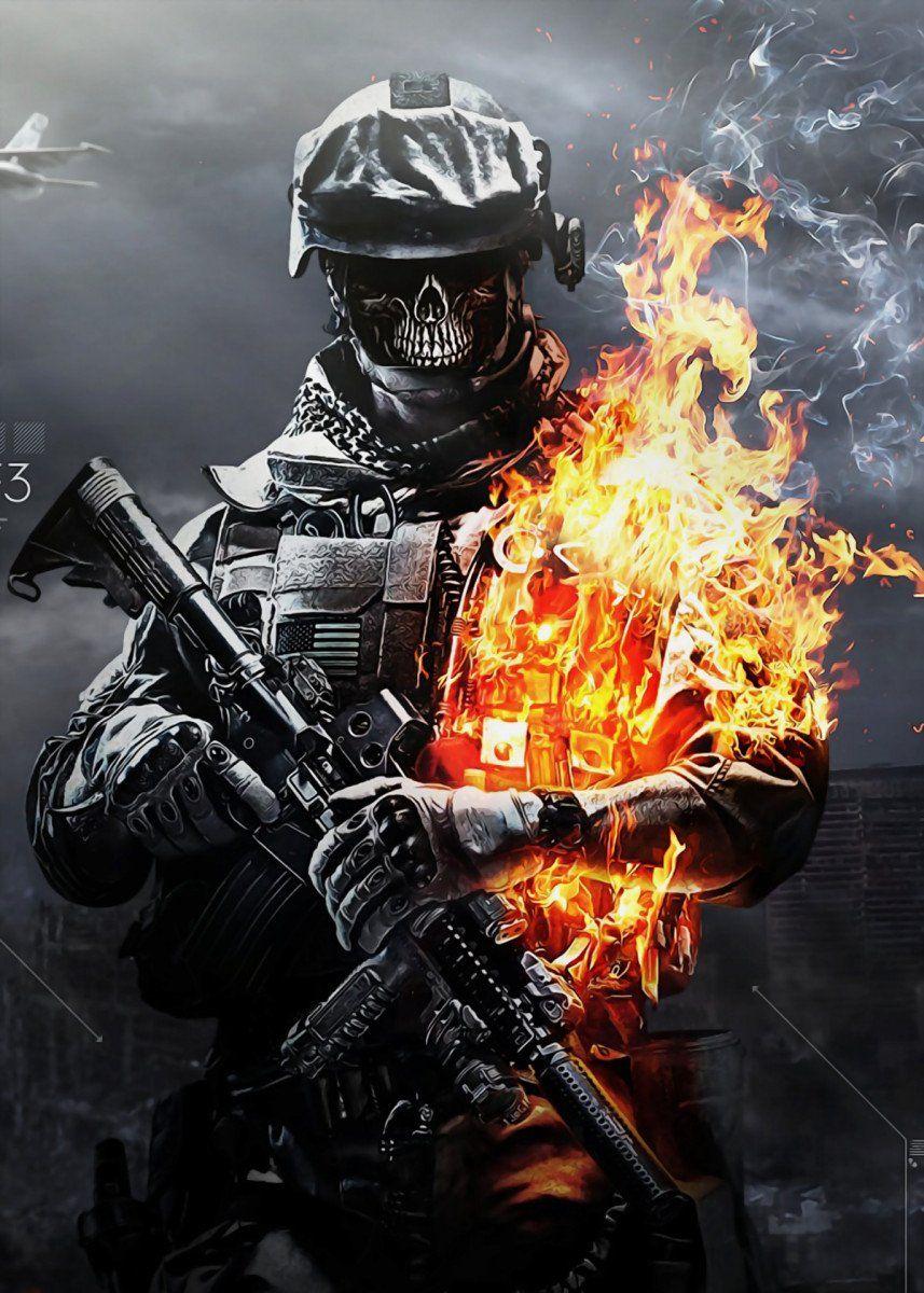 Battlefield Metal Poster Print Hyperart S Displate In 2021 Zombie Wallpaper Gaming Wallpapers Hd Skull Wallpaper