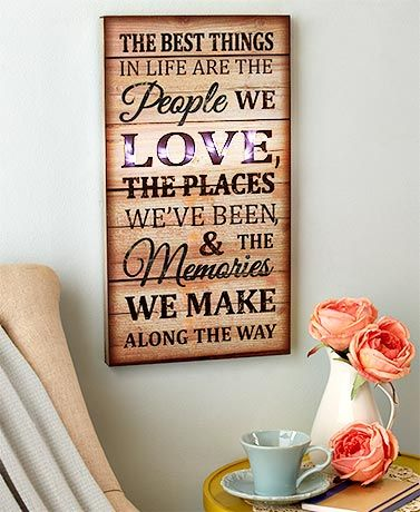 The Lighted Sentiment Wall Art is an inspirational addition to any room. It features an encouraging phrase on a distressed background that complements existing