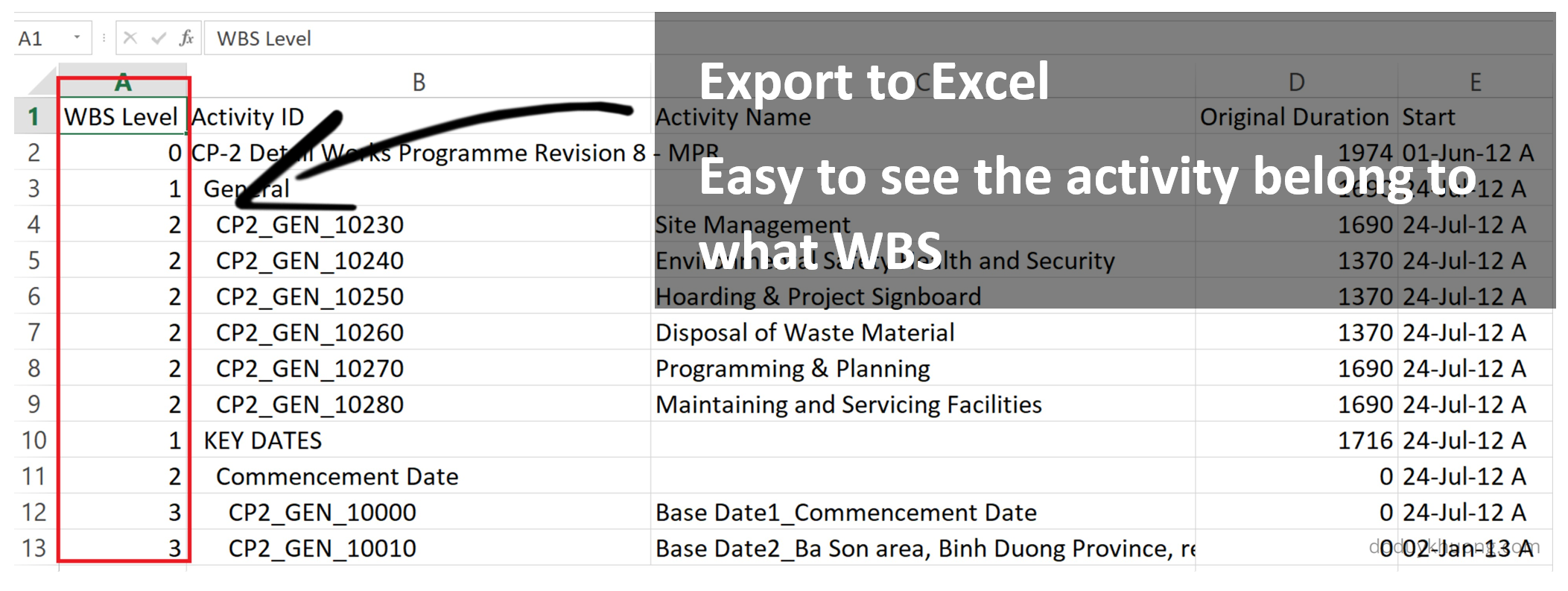 Primavera P6 export to Excel  How to identify WBS level for