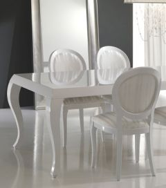 Make A Statement With The Striking Diva Collection Marco Polo Dining Set.  Finished In A Fresh White Lacquer And White Satin Two Tone Striped  Upholstery, ...