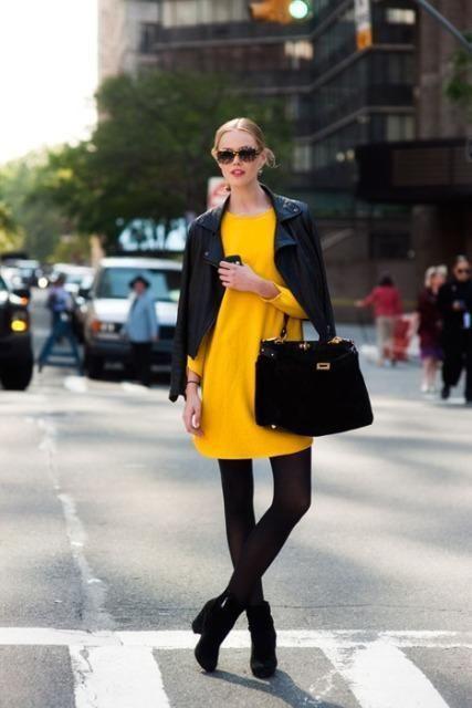 Quelle veste avec robe jaune