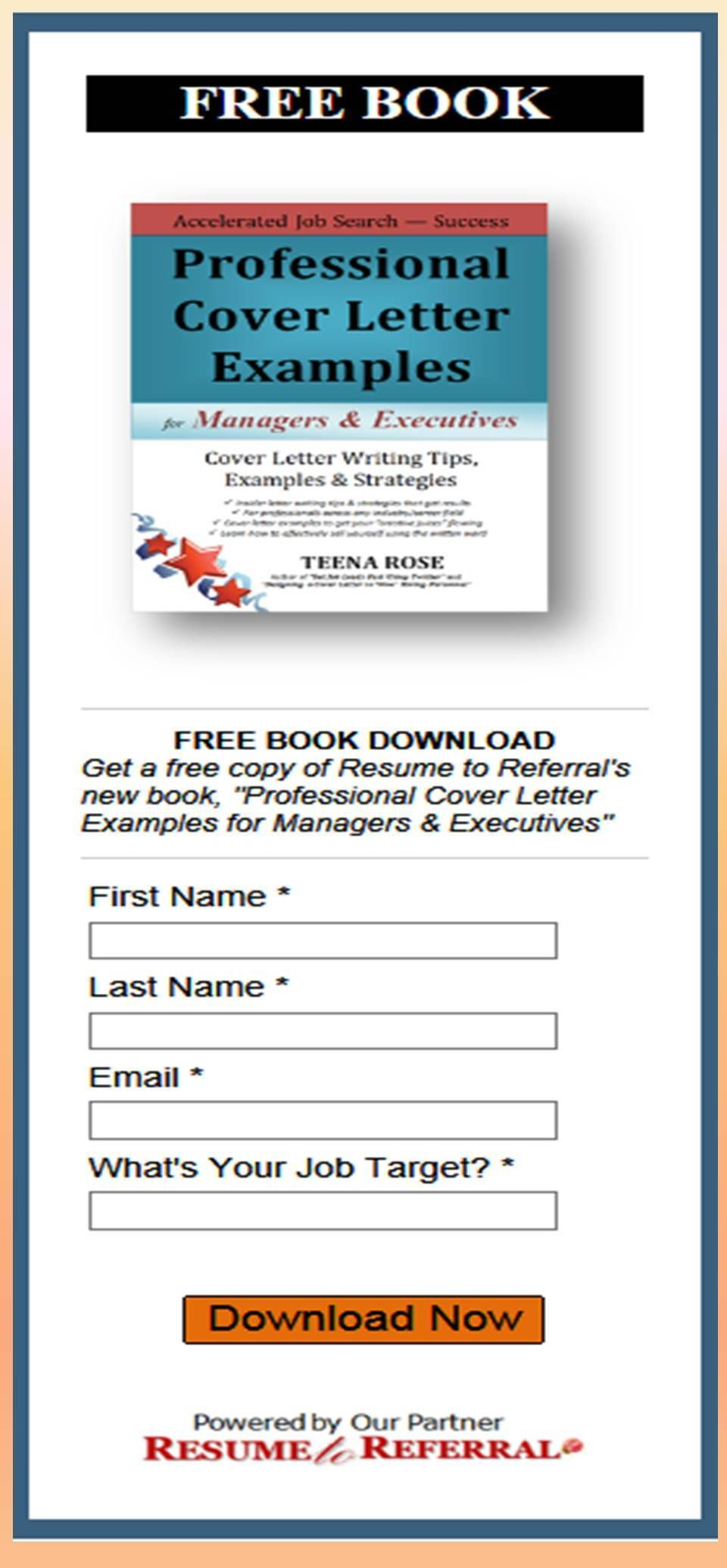 Cover Letter Examples Free Book With Cover Letters Download