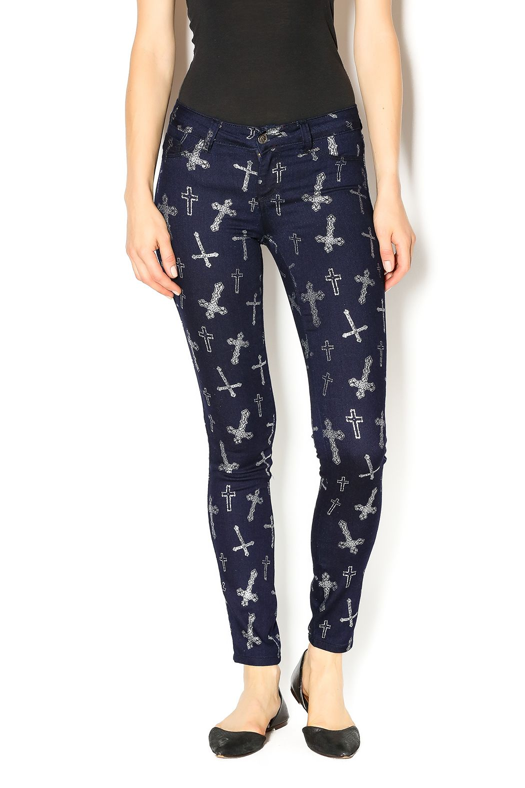 Dark blue vintage wash skinny leggings with silver crosses. Match with a  cute tank or and your favorite pair of boots. Cross Leggings by Cello. 5f2898a12b
