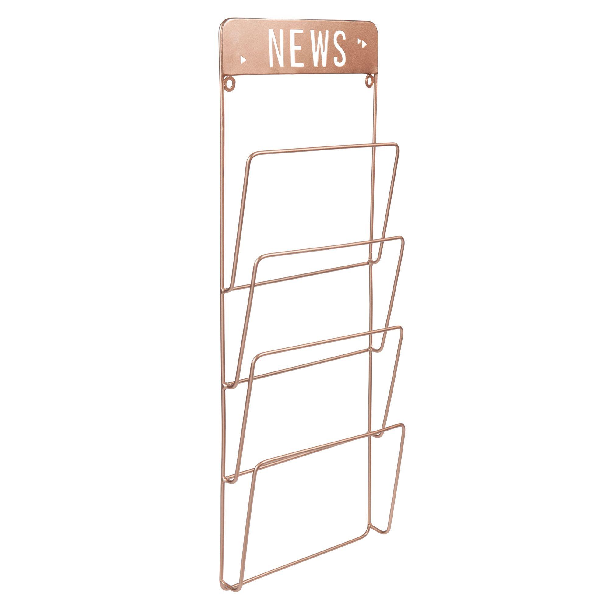 Wandzeitschriftenhalter COPPER NEWS aus Metall, H 65 cm, kupferfarben