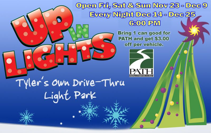 up in lights christmas drive through park tyler texas