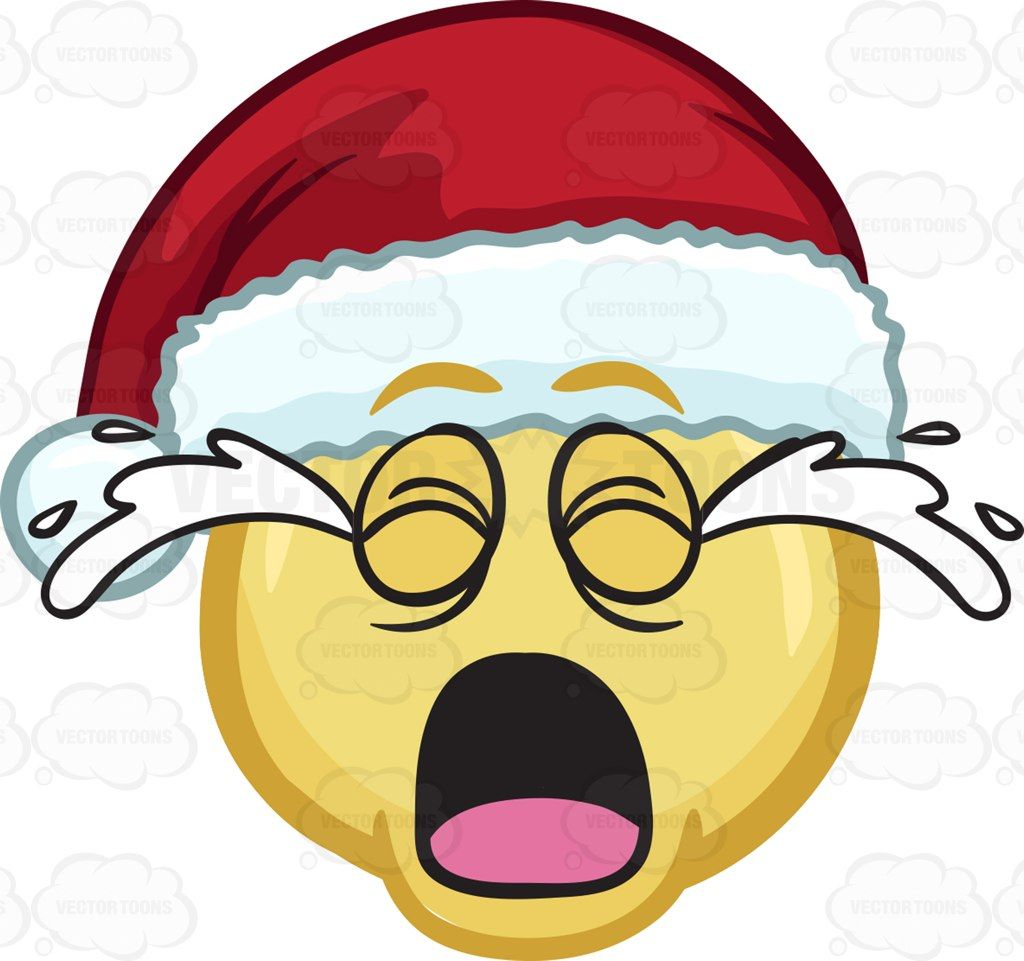 A crying emoji wearing a Santa hat #cartoon #clipart #vector #vectortoons #stockimage #stockart #art
