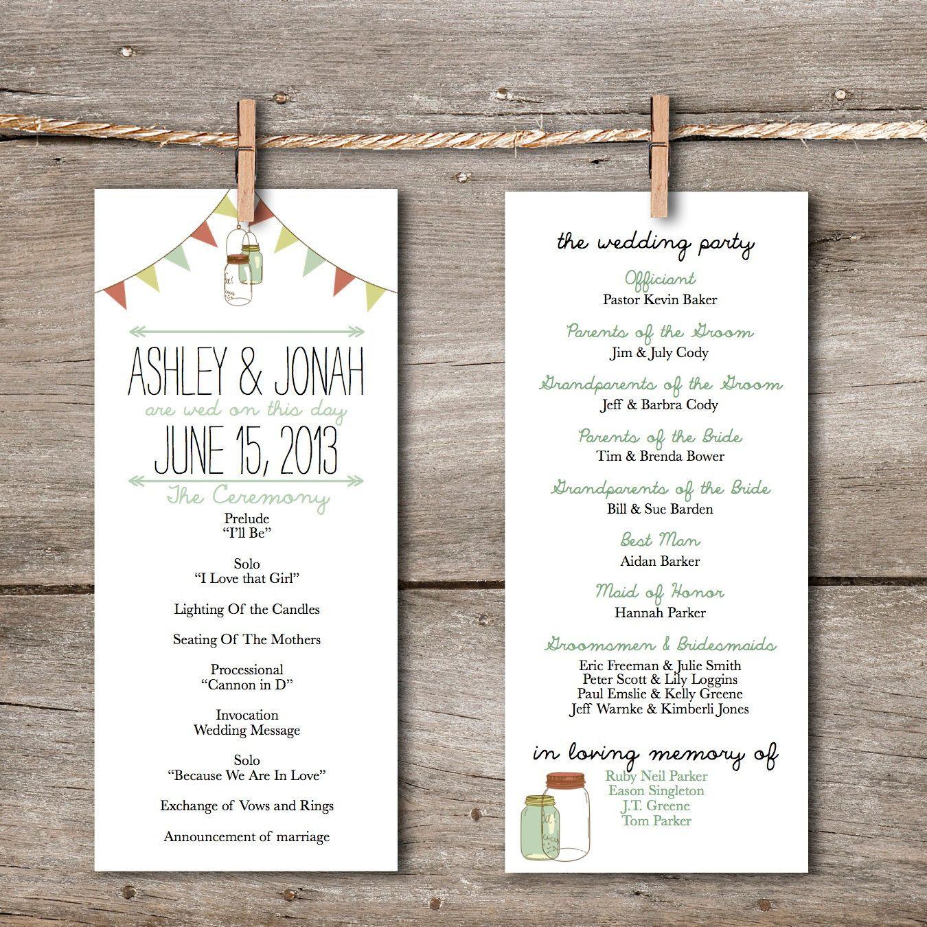 Printable Wedding Program- Rustic Vintage Banner & Mason
