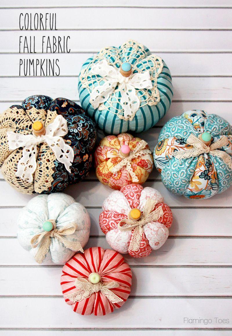 easy fall fabric pumpkins fall halloween decor pinterest