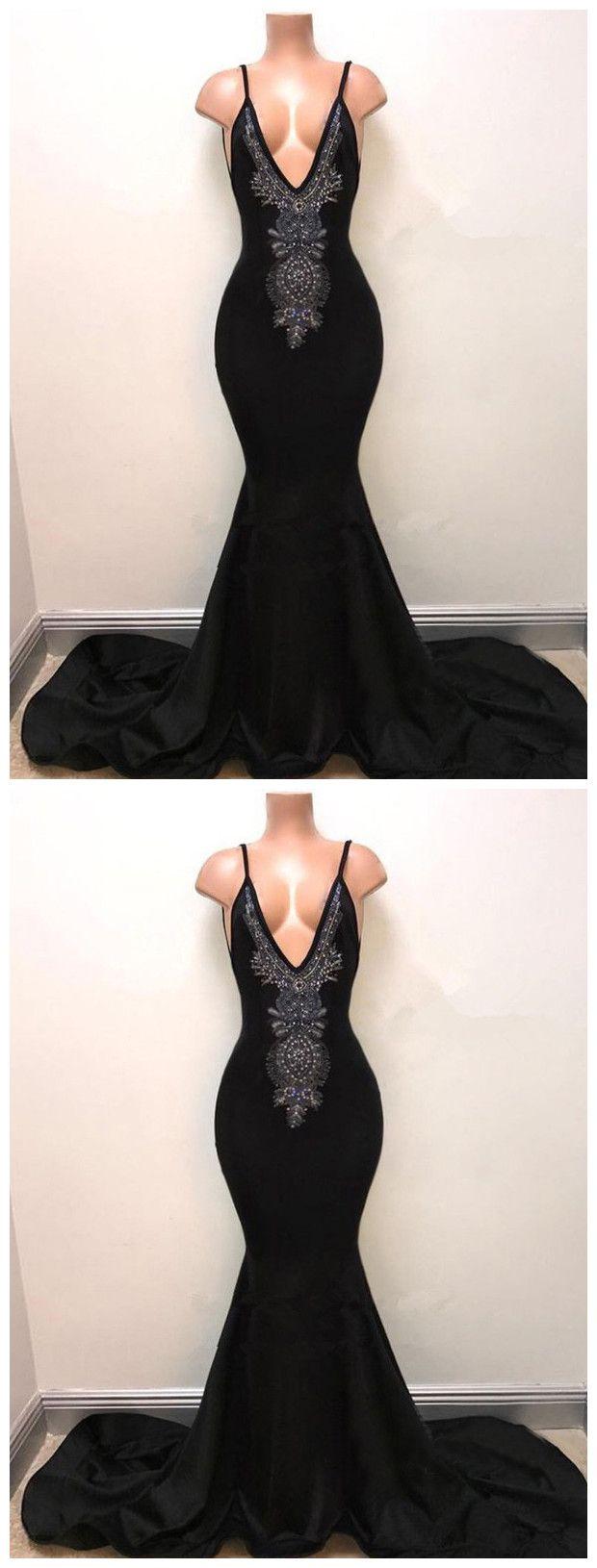 Trumpetmermaid black spaghetti strap sleeveless prom dress beading
