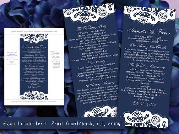 Vintage Lace Wedding Program Microsoft Word Template Dark Navy Blue Shabby Chic Whimsical Printable By Paintthedaydesigns