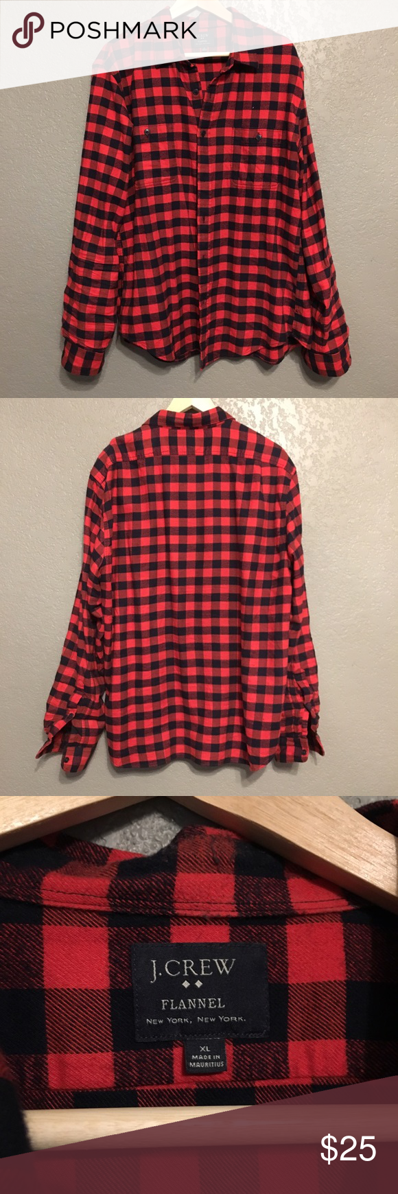J.Crew Buffalo Check Flannel Button Down Like new J.Crew Flannel Button down in black and white buffalo check. Size men's XL. J. Crew Shirts Casual Button Down Shirts