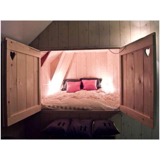 bed built into the wall pretty cool things for the home pinterest the doors girls and doors. Black Bedroom Furniture Sets. Home Design Ideas