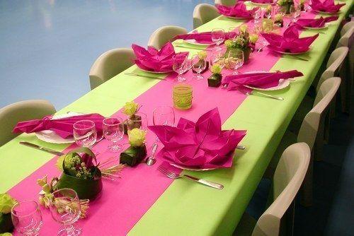 decoration mariage fushia et vert anis