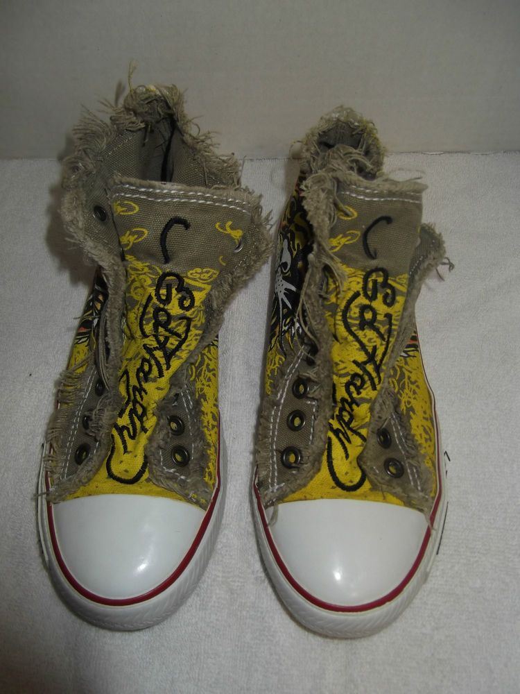 403ac59e21 Womens Girls Size 6 Ed Hardy High Top Tennis Shoes Fringed Edges Tiger   EdHardy  Tennis