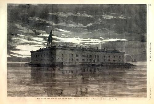 Drawing of Fort Sumter in Charleston SC harbor - before it was bombarded in Civil War