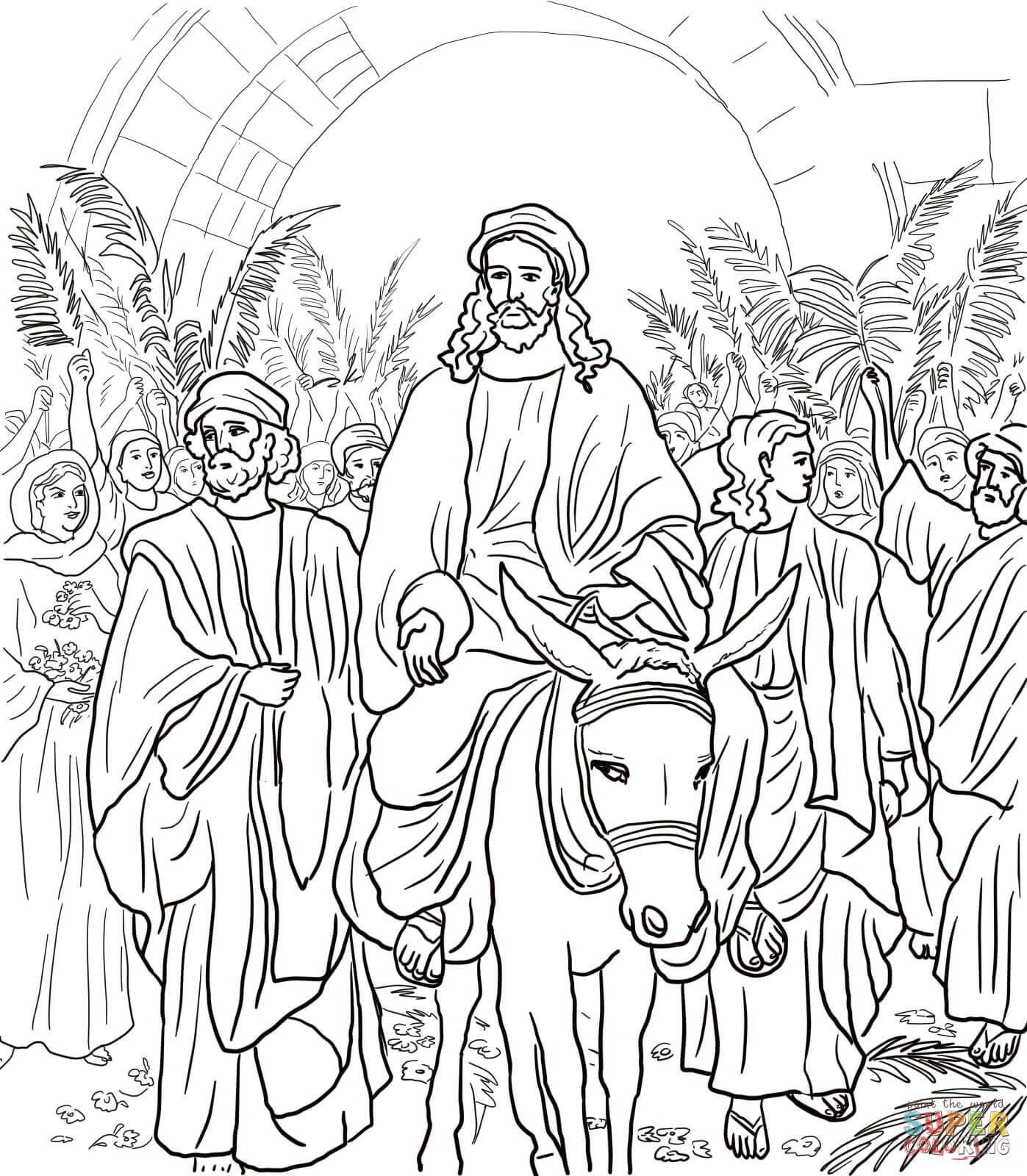 Jesus Entry Into Jerusalem coloring page from Jesus' Holy