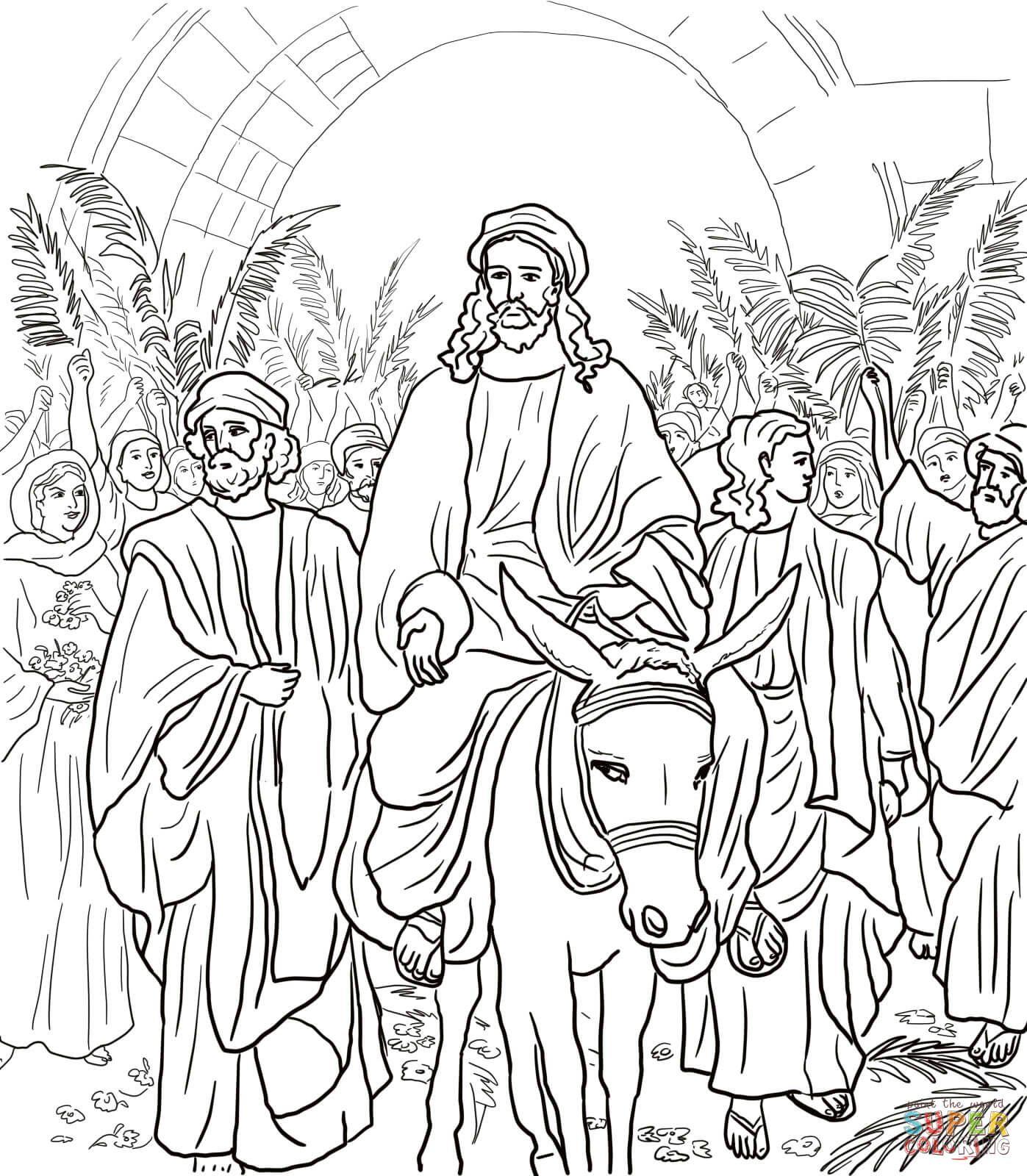 Jesus Entry Into Jerusalem Coloring Page From Jesus