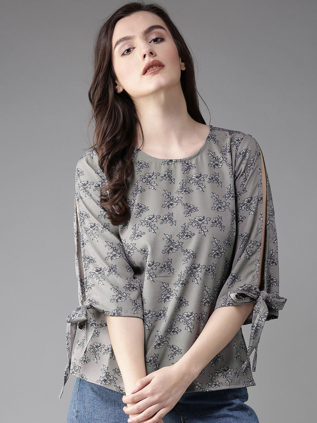 92380a39b45c Buy HERE&NOW Women Grey Floral Print Top - Tops for Women 2288919 | Myntra.  Find this Pin and more on Women's Fashion ...