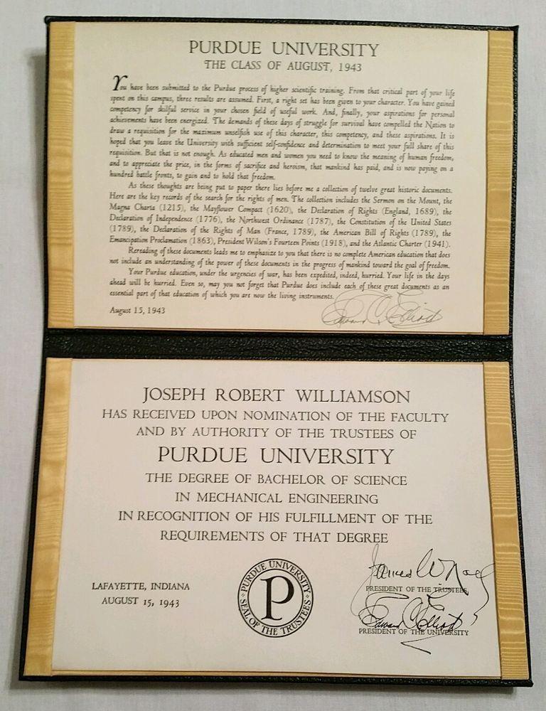 Purdue University Bachelor Of Science Degree Mechanical Engineering ...