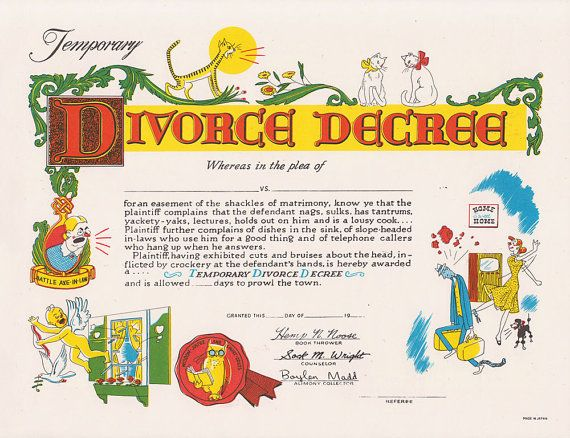Comic Temporary Divorce Decree Illustrated Gag Gift Color Print - print divorce papers