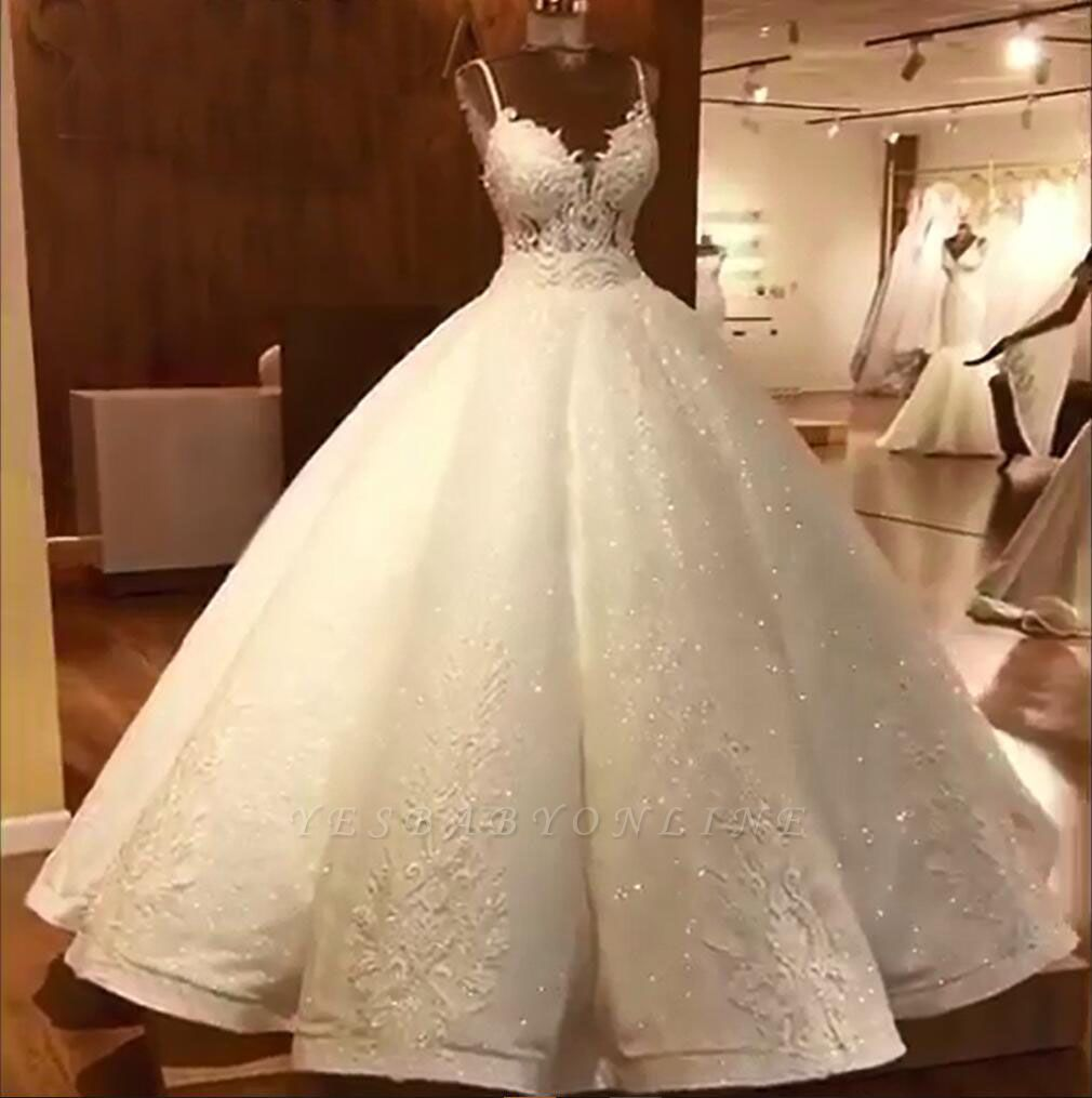 Stunning Ball Gown Wedding Dresses Spaghetti Straps Lace Bridal Gown Ball Gown Wedding Dress Wedding Dresses Satin Backless Wedding [ jpg ]