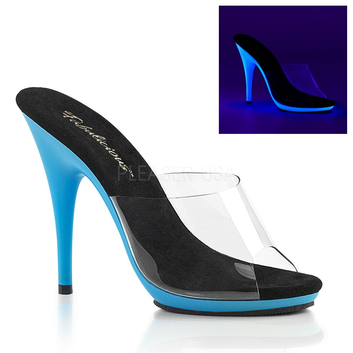 e80f72ddd03 Fabulicious By Pleaser Poise-501UV Clear And Neon Blue – Hot For ...