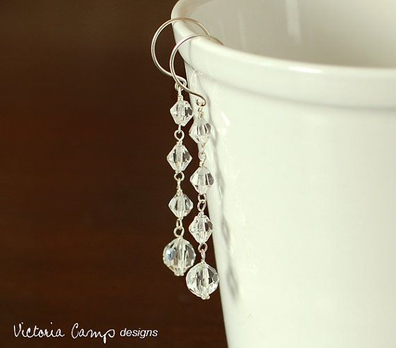Long Vintage Glass Wedding Earrings Vintage by VictoriaCampDesigns, $39.00