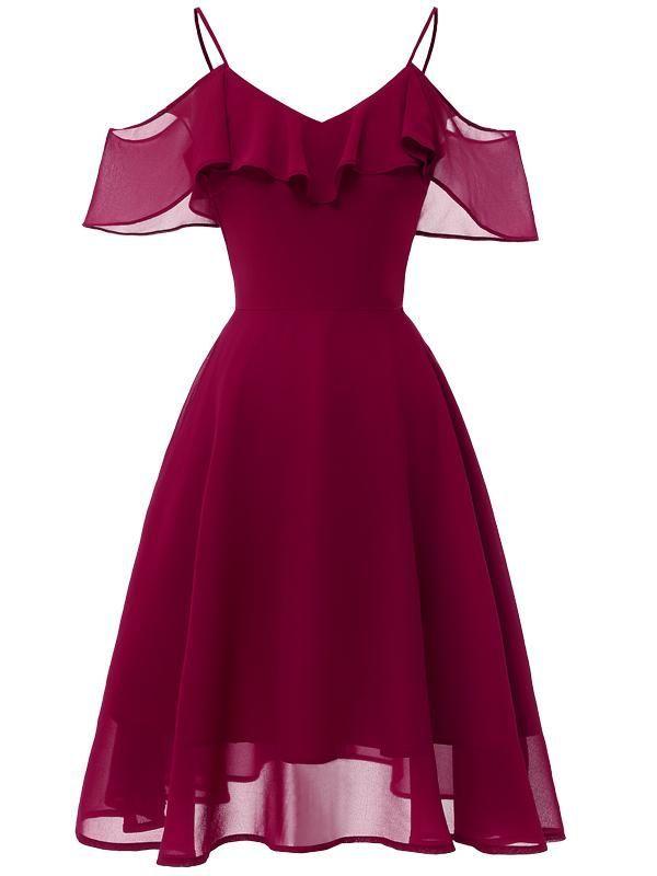 LaceShe Girls's Flowy Strapless Shoulder Chiffon Gown 2020