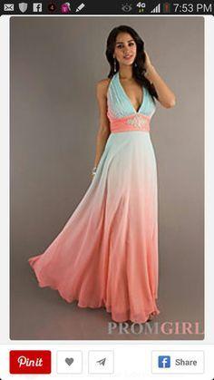 Aqua and Coral Wedding Bridesmaid Dress
