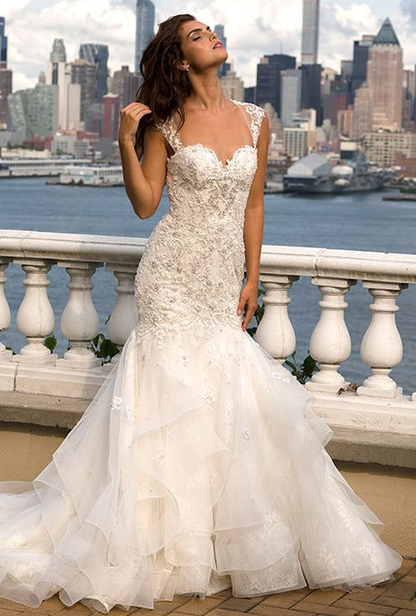 Eve of Milady. Tulle fit-and-flare gown with beaded appliqu s ...