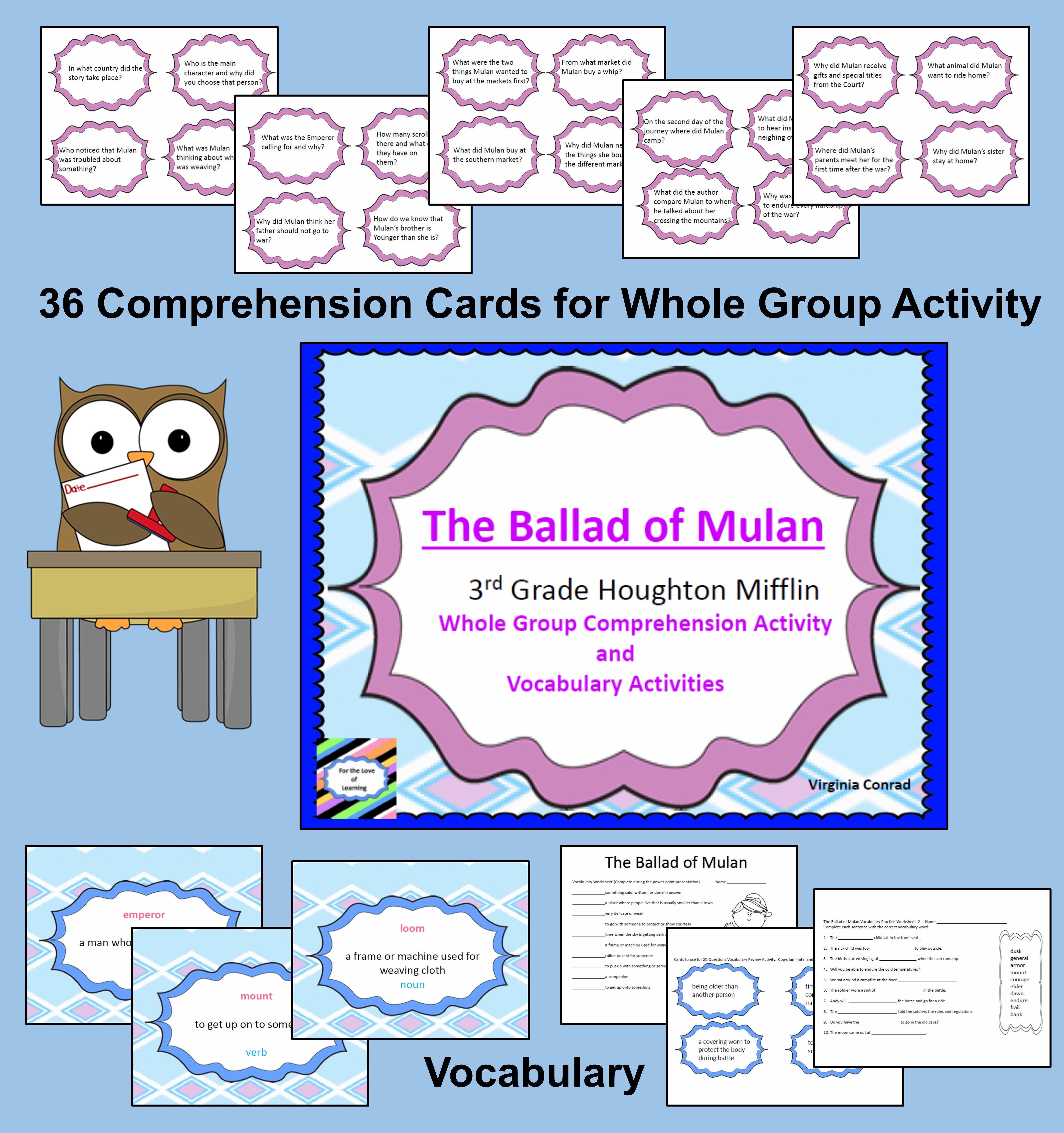 Ballad Of Mulan Vocab And Comprehension Houghton Mifflin